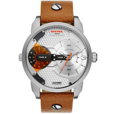DIESEL 航行者二地時間個性時尚腕錶-銀x咖啡色錶帶/46mm