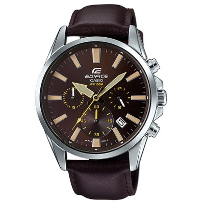 EDIFICE  經典三眼時刻大錶面計時皮帶腕錶(EFV-510L-5A)-咖啡面/45mm