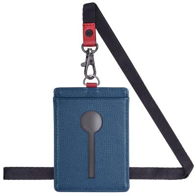 MONDAINE 瑞士國鐵直式鏤空牛皮證件套-十字紋藍