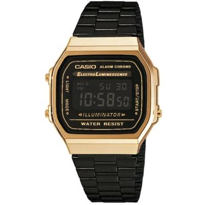 CASIO 經典時尚城市迷彩數位錶(A-168WEGB-1B)-黑色X金框/36.3mm