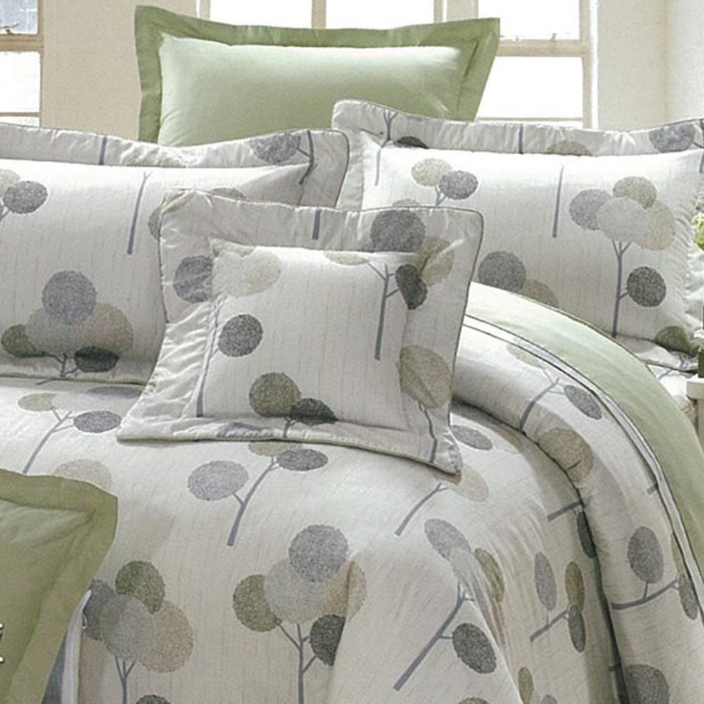 eyah宜雅 全程台灣製100%精梳純棉雙人床罩兩用被全舖棉五件組 輕鬆田園-灰