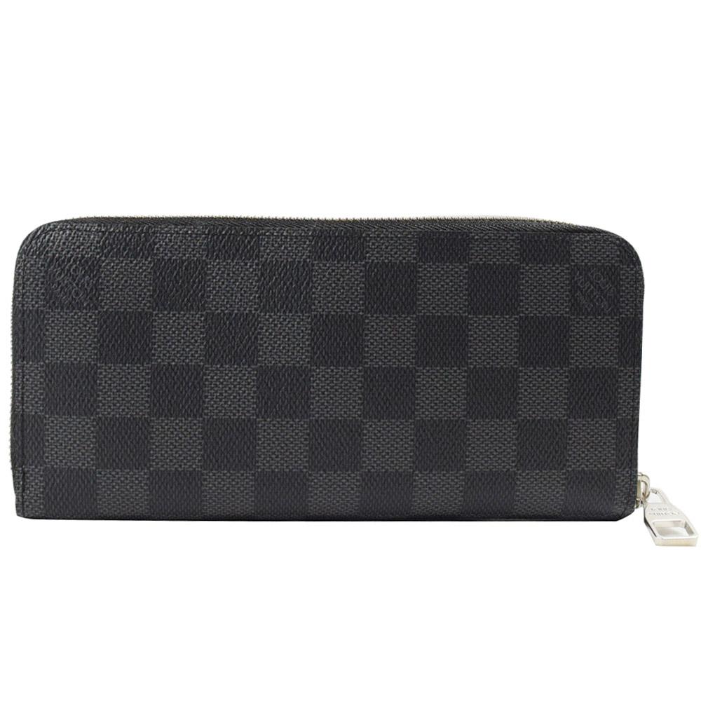 LV N63095 黑棋盤格紋多功能拉鍊長夾