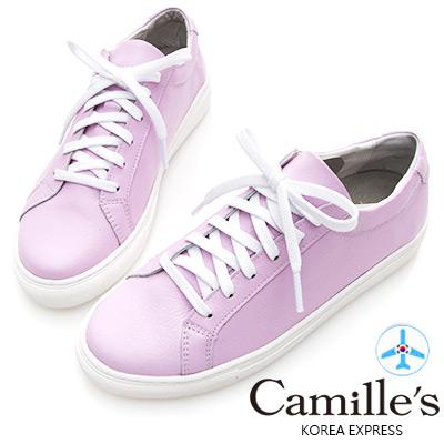 Camille's 韓國空運-正韓製-牛皮經典綁帶休閒鞋-粉紫