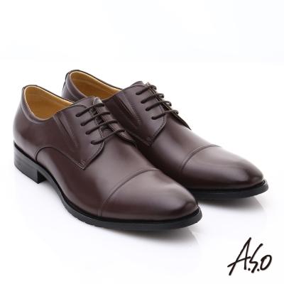 A.S.O職人通勤 時尚真皮綁帶皮鞋 咖啡色