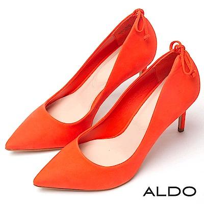 ALDO 原色真皮SEXY後綁帶蝴蝶結尖頭細高跟鞋~襯膚橘紅