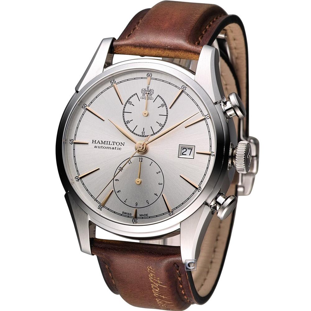 Hamilton Jazzmaster 新自由宣言計時機械腕錶-銀白x咖啡色錶帶/42mm