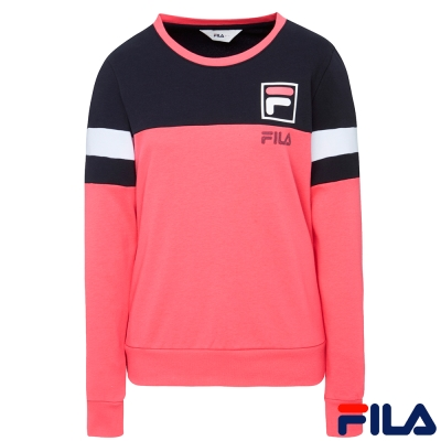 FILA女撞色拼接圓領T恤-桃紅5TER-5510-PC