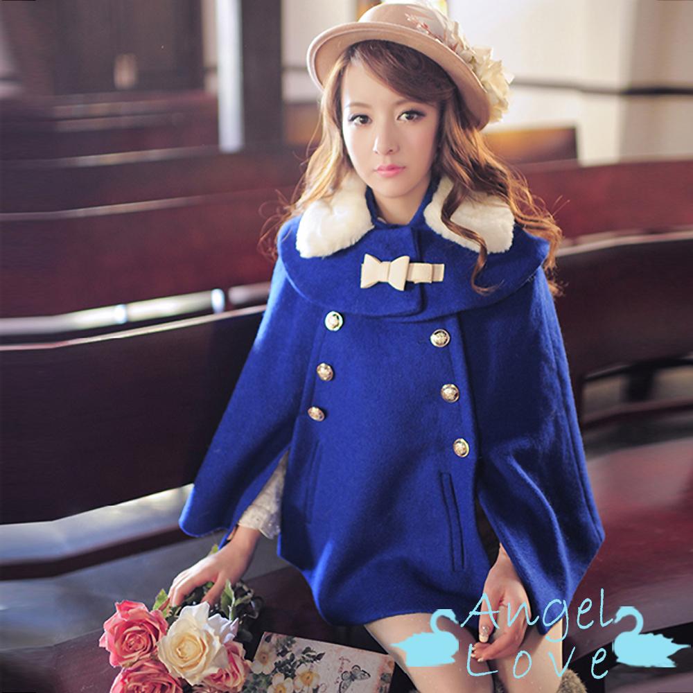 Angel Love-毛呢斗篷 披肩毛毛領雙排釦毛呢斗篷 (藍色)