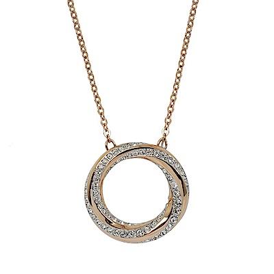 SWAROVSKI 施華洛世奇 圓形鏤空漩渦水晶玫瑰金色項鍊