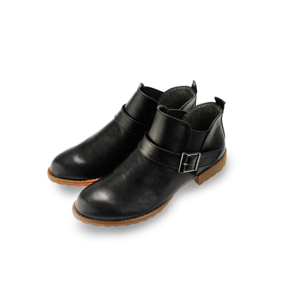 FUFA MIT 嚴選素面低跟黏扣馬靴 (FB14) -黑色