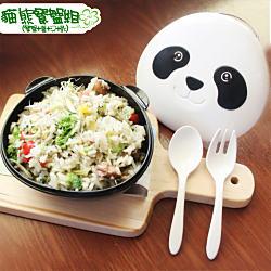 Cornflower玉米花快樂森林玉米餐具-熊貓餐盒(匙+叉)