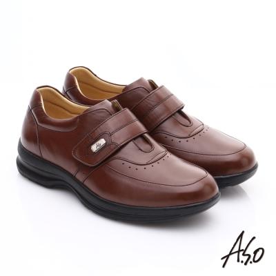 A.S.O 3A全掌氣墊 油感真皮氣墊休閒皮鞋 咖啡色