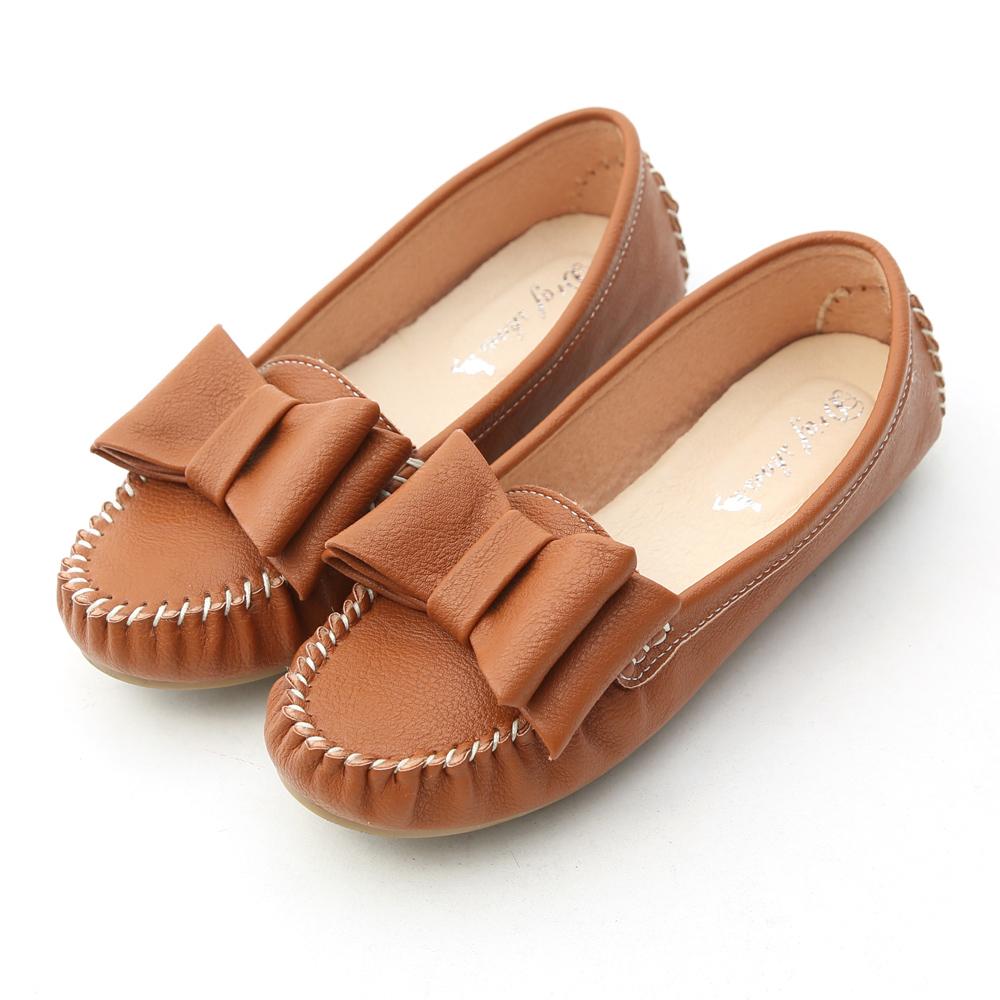 D+AF 俏皮可愛‧MIT大蝴蝶結莫卡辛豆豆鞋*棕