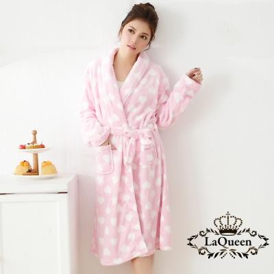 睡衣   可愛甜心雙面水貂絨睡袍-粉色愛心 La Queen