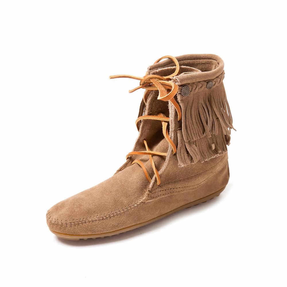 MINNETONKA-DOUBLE FRINGE綁帶雙層流蘇短靴-褐色