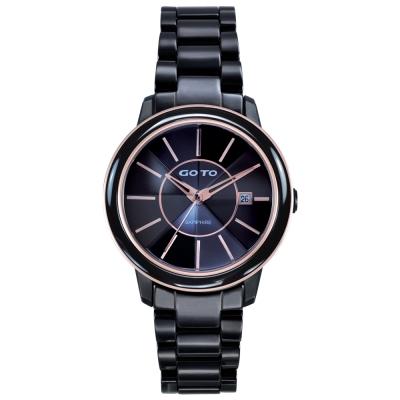 GOTO 冒險輕盈時尚腕錶-IP黑殼玫框x玫刻度/34mm