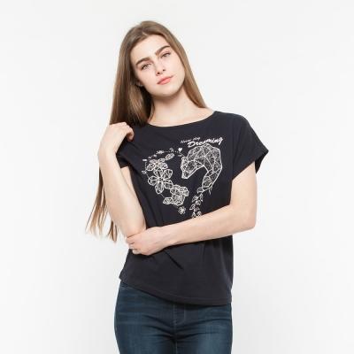Hang Ten - 女裝 - 流行英文標語梯版T-Shirt- 藍