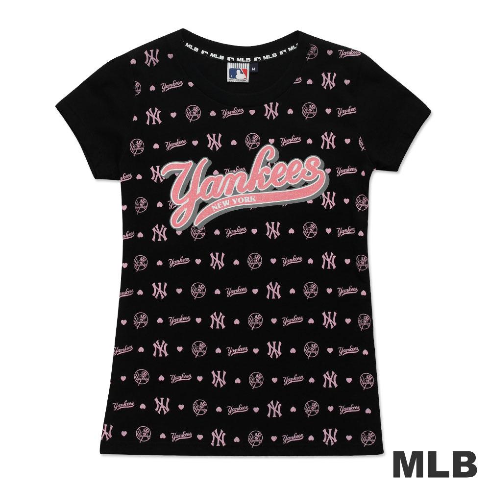 MLB-紐約洋基隊滿版LOGO印花T恤-黑(女)