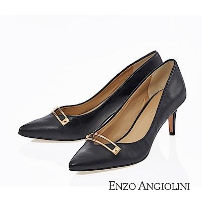 ENZO ANGIOLINI--OL簡約風尖頭高跟鞋- 都會黑