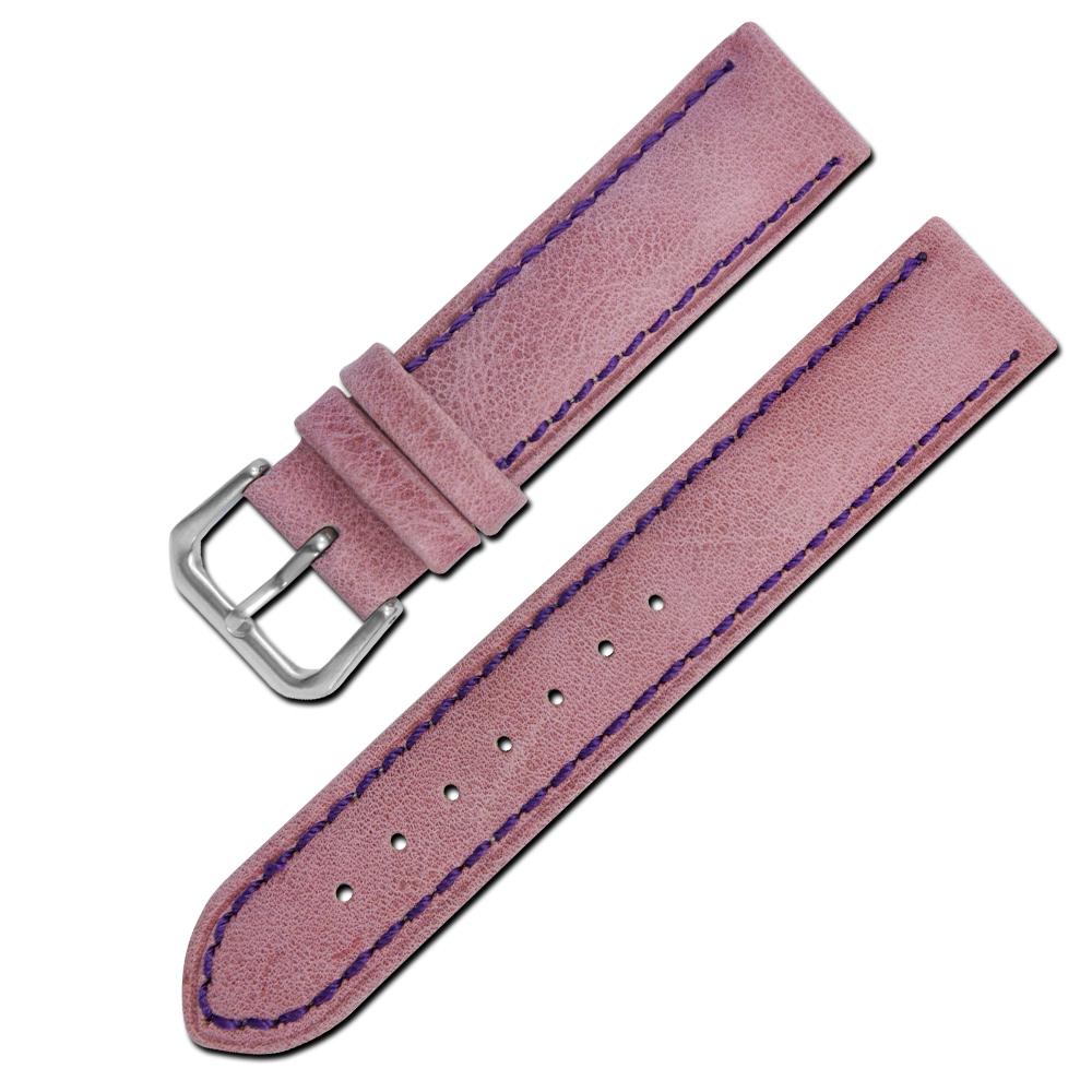 Watchband /各品牌通用柔軟簡約質感車線牛皮錶帶- 紫色