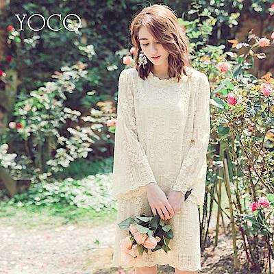 東京著衣-yoco 質感美人細緻全蕾絲寬袖洋裝-S.M.L(共一色)