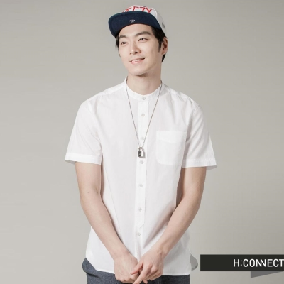 H:CONNECT 韓國品牌 男裝 - 紳士感純色口袋上衣 - 白(快)