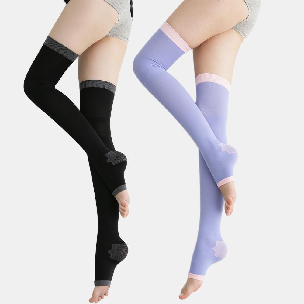 足下物語   台灣製 360丹美化曲線睡眠襪 2件組(黑/紫)
