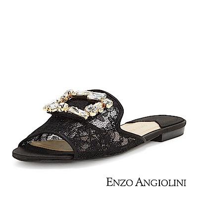 ENZO ANGIOLINI--蕾絲方鑽魚口平底涼拖鞋-優雅黑
