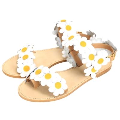 Julie Jolie 牛皮雛菊造型設計涼鞋(白色)