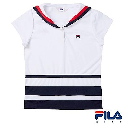 FILA KIDS 女童吸濕排汗上衣-白5TES-4416-WT