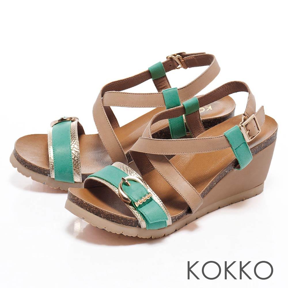 KOKKO陽光夏日氣息 ‧羅馬繞帶金屬釦環械型涼鞋 - 綠