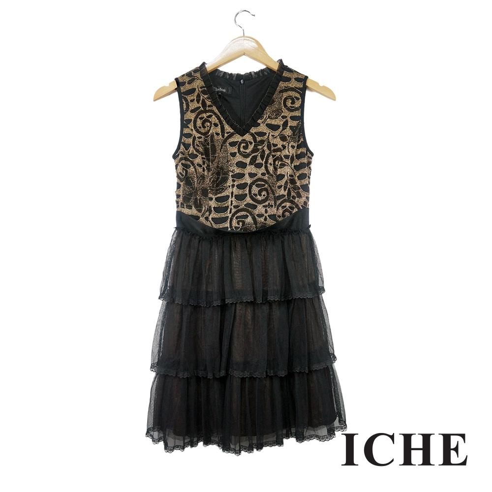 ICHE衣哲 提花蕾絲拼接蛋糕疊層造型洋裝