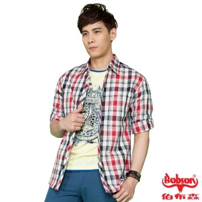 BOBSON 男款七分袖腰身格紋襯衫(紅24004-13)