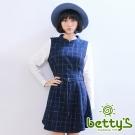 betty's貝蒂思 優雅格紋假兩件式混羊毛洋裝(藍色)