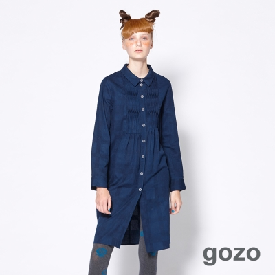 gozo 隱約格紋波浪壓摺襯衫洋裝(二色)