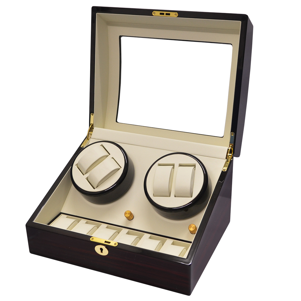 WISH 機械腕錶自動上鍊盒‧10只裝-深紅胡桃木紋