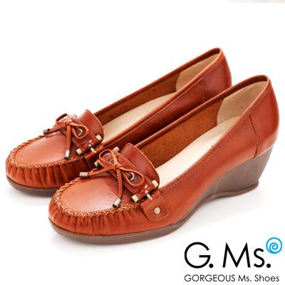 【G.Ms.】MIT系列‧知性學院‧手工縫線蝴蝶結全真皮楔型鞋‧復古橘
