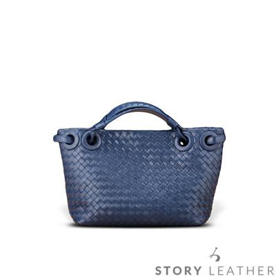 STORYLEATHER - 羊皮編織包 肩背包 6730-C5 小羊皮藍現貨