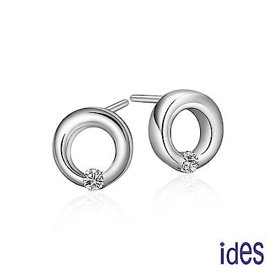 ides愛蒂思 輕珠寶。日韓風潮個性時尚925純銀晶鑽耳環/圓滿
