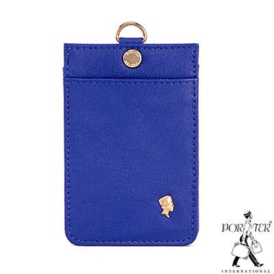 PORTER-繽紛點綴-掛繩證件套-藍