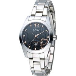 STAR 時代 甜蜜雙心石英錶-黑x銀色/33mm