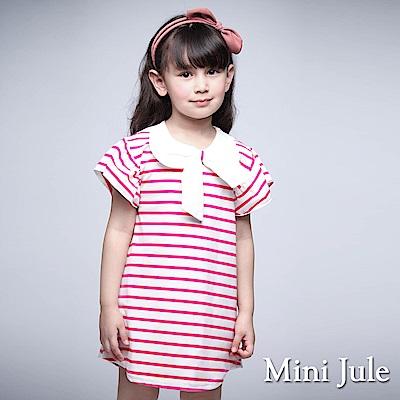 Mini Jule 童裝-上衣 蝴蝶結領條紋荷葉袖長版上衣(玫紅)