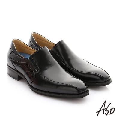 A.S.O 菁英通勤 鏡面摔花牛皮鬆緊帶奈米紳士鞋 黑色