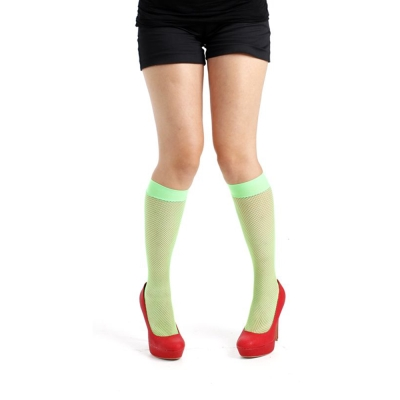 摩達客Pamela Mann英國進口義大利製螢光綠細格紋及膝高筒襪