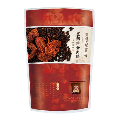 台灣綠源寶 黑胡椒素肉條/素食肉乾(200g/包)*任選12包組