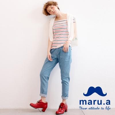 maru-a麻洛野-後腰鬆緊直筒牛仔褲