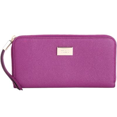 TOD'S 紫色金屬牌飾拉鍊長夾(內裡紅色)