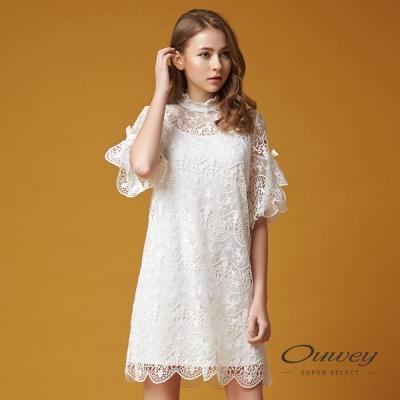 OUWEY歐薇 甜美優雅蕾絲兩件式洋裝(白)-動態show