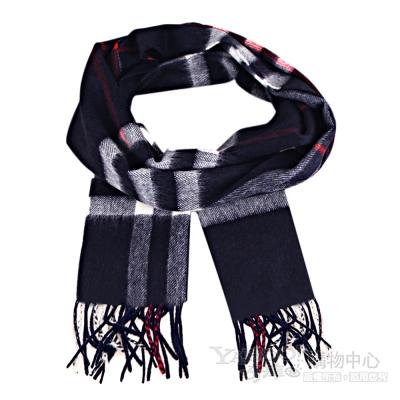 BURBERRY 經典格紋Cashmere山羊絨圍巾(藏藍)