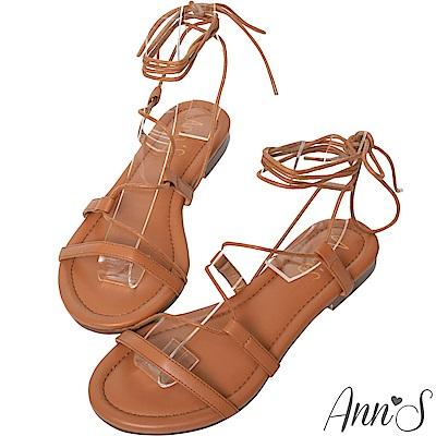 Ann'S腳部馬甲線-繫繩繞帶平底羅馬涼鞋-棕